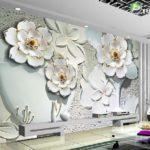 Thợ giấy dán tường tại long biên, Giá 1m2 tranh dán tường 3D trọn gói giá rẻ