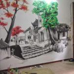 Nhận vẽ tranh tường giá rẻ tại hà nội sơn dầu chì theo yêu cầu