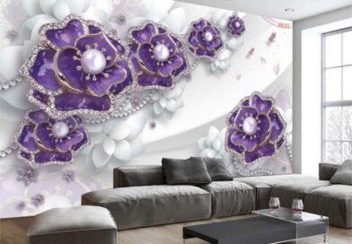 Báo giá in tranh dán tường 3D theo yêu cầu theo m2 2021 khổ lớn phòng khách và phòng ngủ